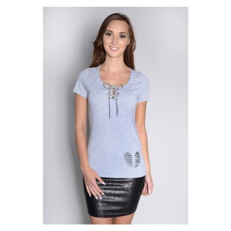 Tričko s vázáním a srdíčky barva šedá