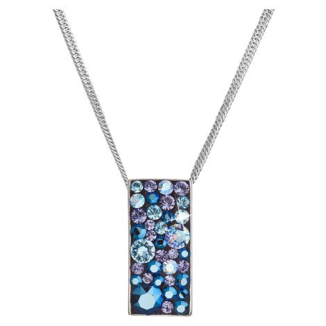 Evolution Group Stříbrný náhrdelník se Swarovski krystaly modrý obdélník 32074.3 blue style
