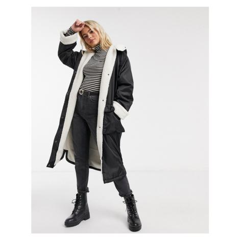 ASOS DESIGN borg lined maxi raincoat in black