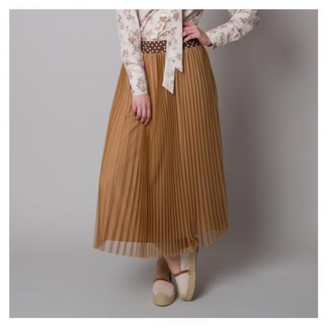 Plisovaná midi sukně hnědé barvy 12627 Willsoor