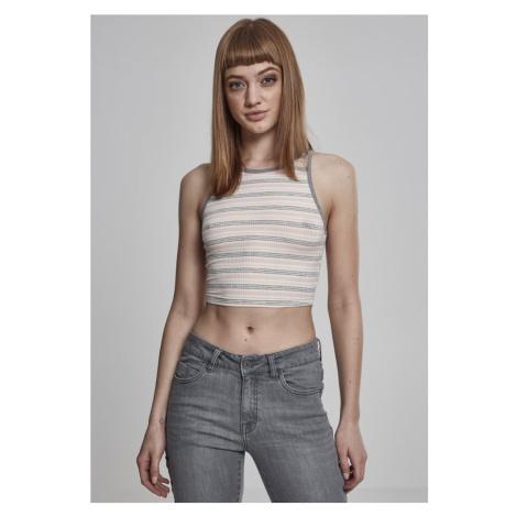 Ladies Rib Stripe Cropped Top - pink/white/grey Urban Classics