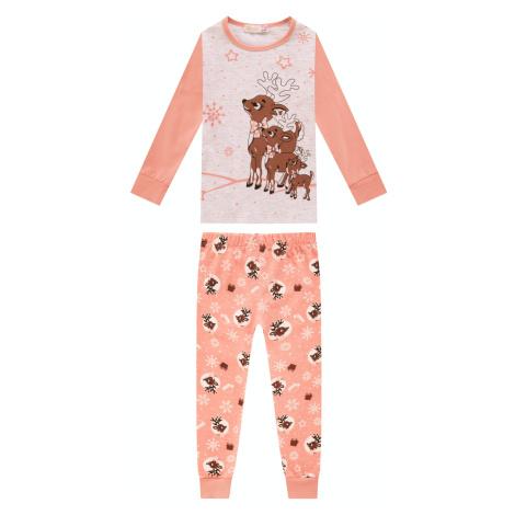 Dívčí pyžamo - KUGO MP1307, lososová