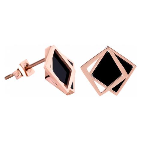 Troli Bronzové náušnice ve tvaru dvojitého čtverce - černé
