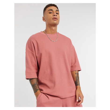 ASOS DESIGN Co-Ord oversized heavyweight waffle t-shirt in pink