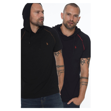 TWIN SET T8570 DEWBERRY HOODED MEN's T-SHIRT-LACİVERT - BLACK