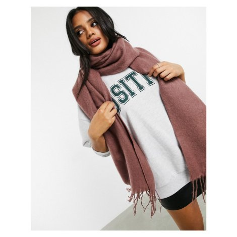 ASOS DESIGN supersoft long woven scarf with tassels in pink