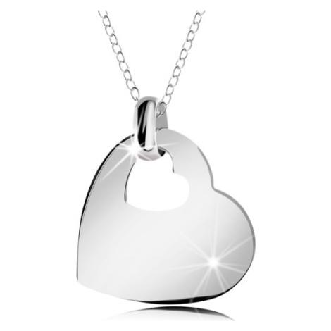 Stříbrný náhrdelník 925, lesklé srdce s výřezem ve tvaru malého srdíčka, řetízek Šperky eshop