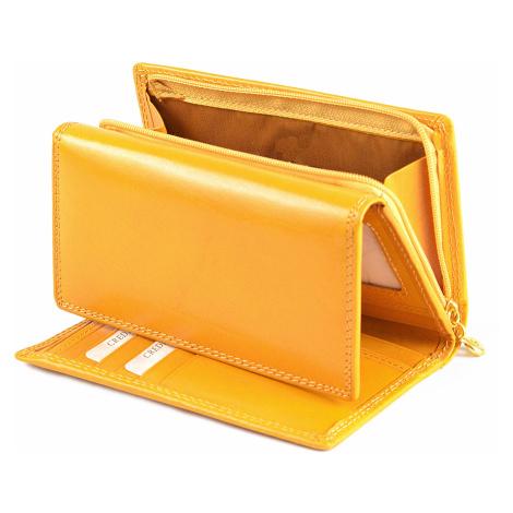Dámská peněženka kožená na šířku žlutá, 15 x 2 x 10 (SB00-V907-06KUZ)