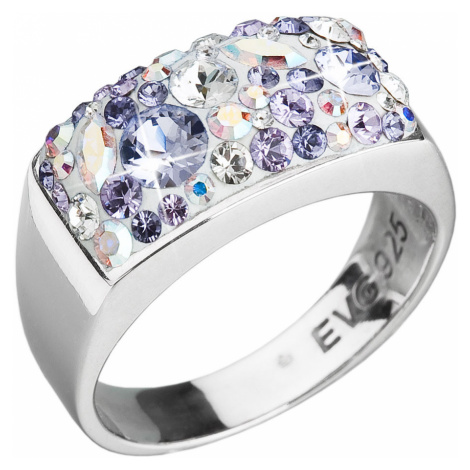 Stříbrný prsten s krystaly Swarovski fialový 35014.3