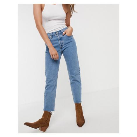 Levi's 501 crop jeans with frayed hem in midwash blue Levi´s