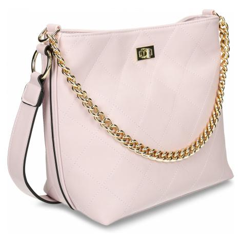 Růžová dámská kabelka se zlatým řetízkem Baťa