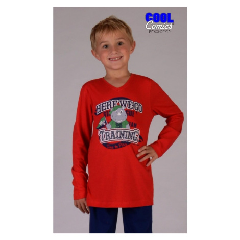 Dětské pyžamo dlouhé Nosorožec, červená