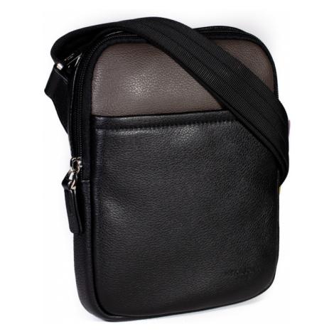 Kožená taška přes rameno Hexagona 686294 černo-hnědá (vel. S)