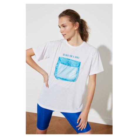 Trendyol White Technical Pocket Detail Sports T-Shirt