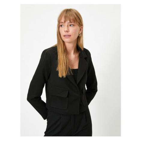 Koton Women's Black Long Sleeve Pocket Jacket