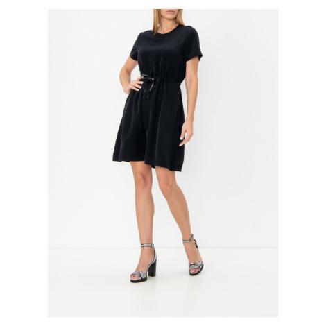 Calvin Klein Calvin Klein dámské černé lehké šaty BRANDED DRAW CORDS WAISTED DRESS