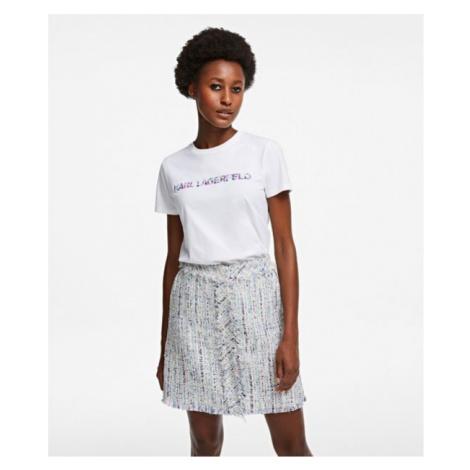 Tričko Karl Lagerfeld Floral Logo T-Shirt - Bílá