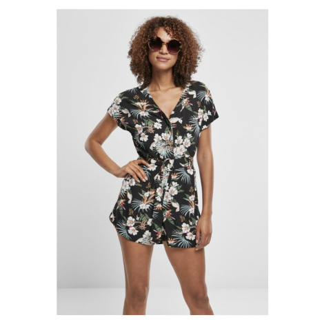 Ladies Short Viscose Belt Jumpsuit - black tropical Urban Classics