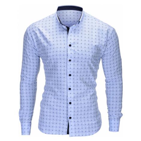 Pánská elegantní košile s dlouhým rukávem Juelz světle modrá Ombre Clothing