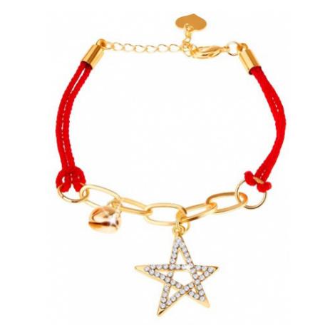 Náramek ze šňůrek, řetízek, dva přívěsky - hvězda, rolnička Šperky eshop