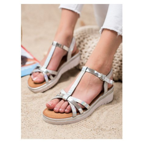 Designové dámské šedo-stříbrné sandály bez podpatku SMALL SWAN
