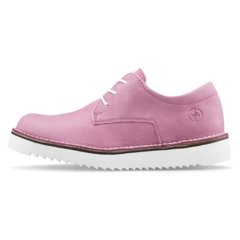 Vasky Derby Pink - Dámské kožené polobotky růžové, česká výroba