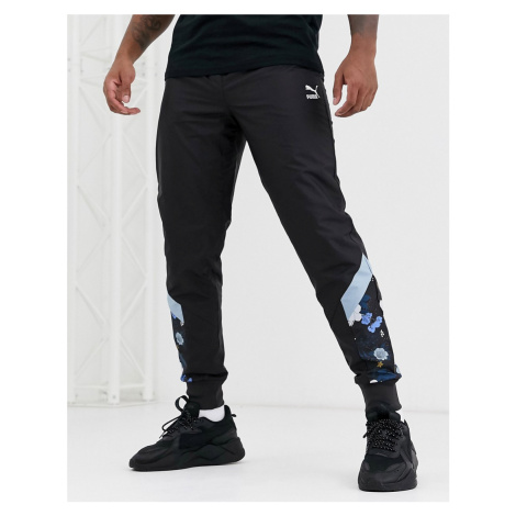 Puma Floral Trackpants-Black