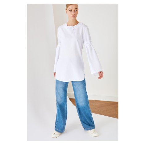 Trendyol White Shirt Collar Sleeve Detailed Tunic