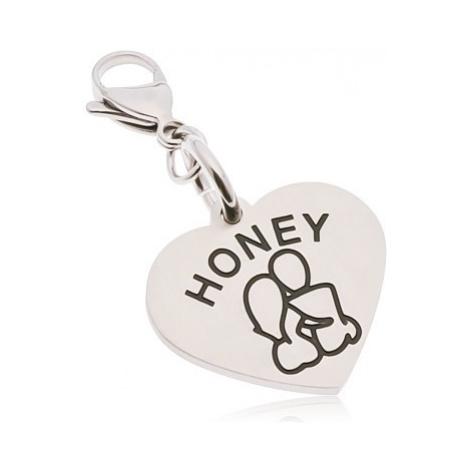 Ocelový přívěsek na klíčenku, srdce s nápisem HONEY, zamilovaná dvojice Šperky eshop