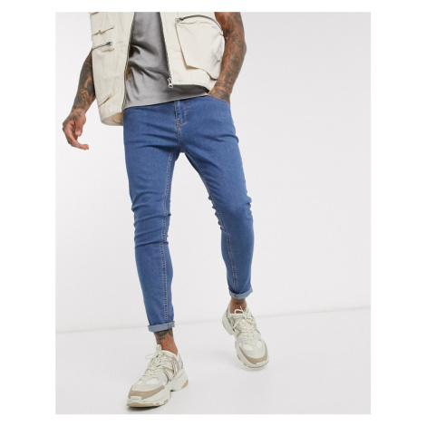 Bershka super skinny jeans in mid blue