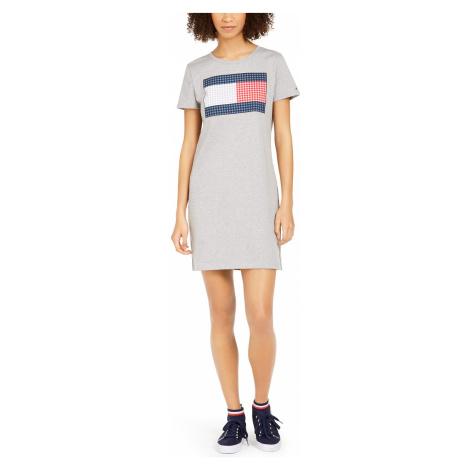 Šaty Tommy Hilfiger Cotton Flag Dress šedé