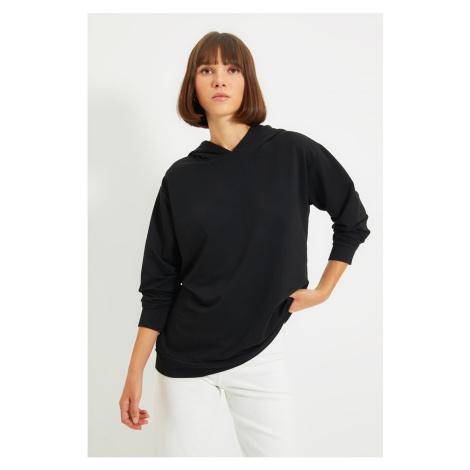Trendyol Black Back Printed Boyfriend Knitted Sweatshirt