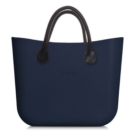 Kabelka obag mini navy s krátkým držadlem koženka černá O bag