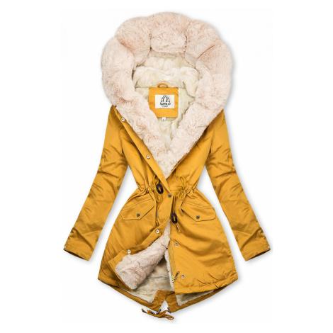 Žlutá zimní parka s kožešinovým lemem Butikovo