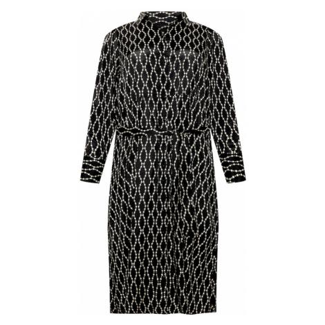 KAFFE CURVE Košilové šaty černá / bílá