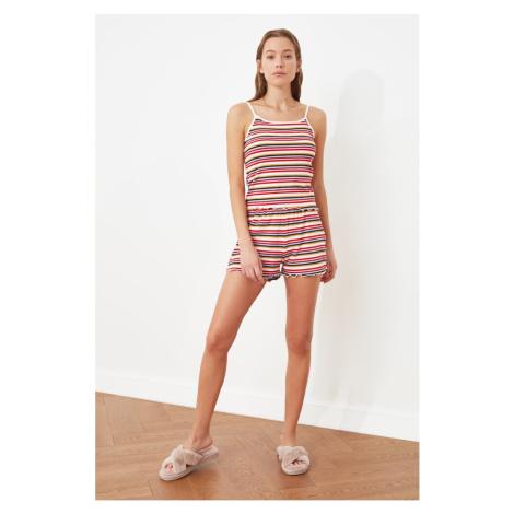 Trendyol Burgundy Camisole Knitted Pajamas Set