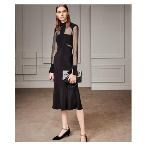 Šaty Karl Lagerfeld Lace & Silk Midi Dress - Černá