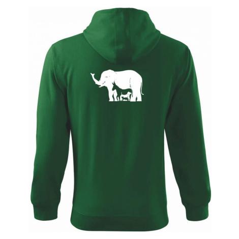 Slon, pes, kočka - Mikina s kapucí na zip trendy zipper