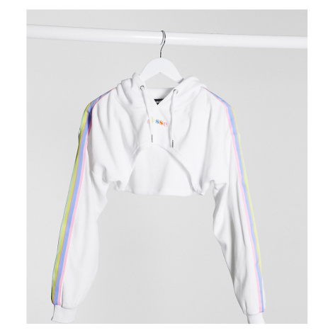 Ellesse cropped hoodie in velvet with rainbow taping co-ord-White