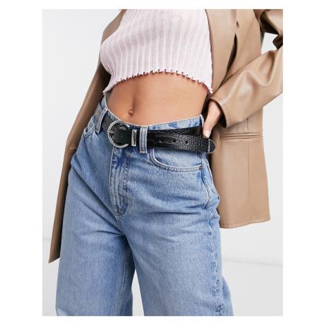 ASOS DESIGN waist and hip jeans belt in croc with metal tip-Black