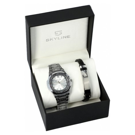 SKYLINE pánská dárková sada hodinky s náramkem SH0055 stříbrná