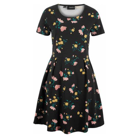 Šaty s krátkým rukávem a květinovým potiskem Bonprix
