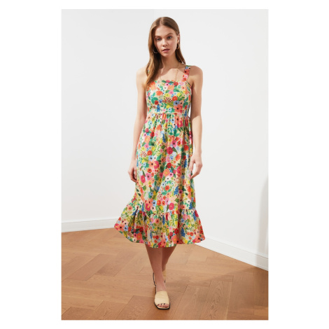 Trendyol Floral Patterned Dress WITH Cream Strap Flywheel