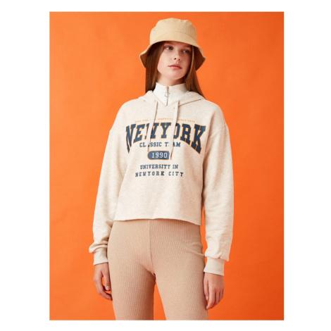 Koton New York Printed Hoodie Sweatshirt