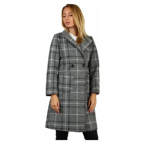 Dámský kostkovaný kabát rovného střihu