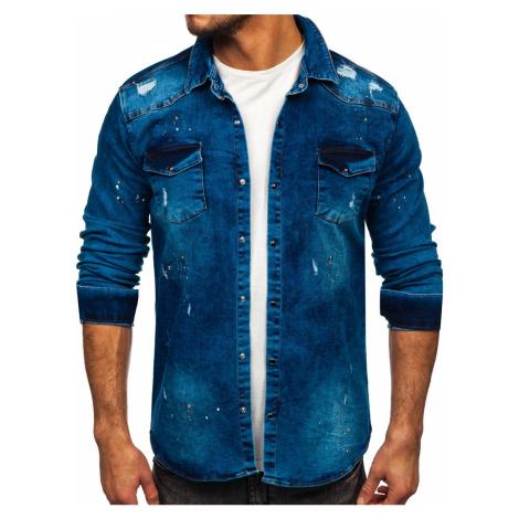 Tmavě modrá pánská džínová košile s dlouhým rukávem Bolf R701 RWX