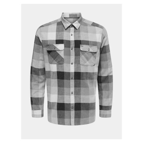 ONLY & SONS šedá pánská kostkovaná košile