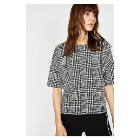 Koton Women's Black Plaid T-Shirt