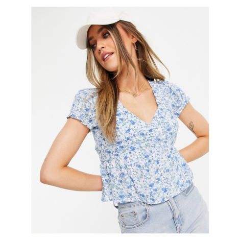 Hollister puff sleeve frill top in blue floral-White