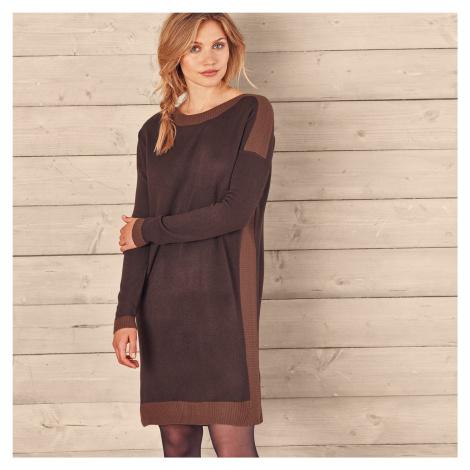 Blancheporte Pletené šaty s lodičkovým výstřihem čokoládová